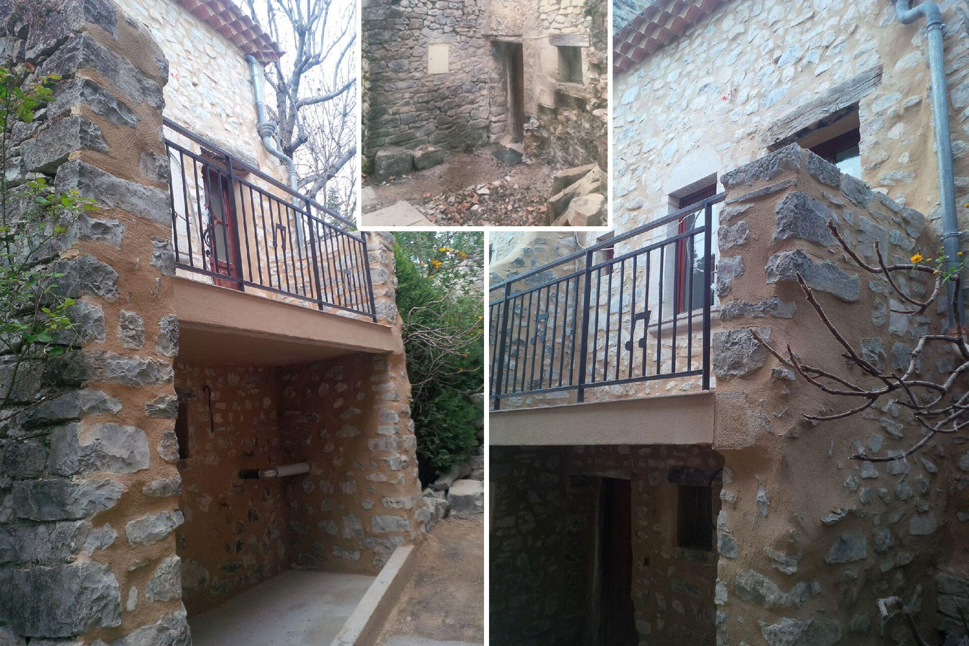 Terrasse, balcon et maçonnerie pour une maison à Vaugelas avec gros œuvre, dalle et enduit.