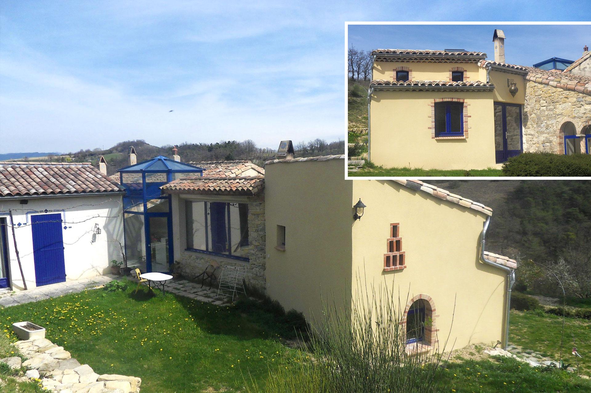 Extension de maison à Crest avec travaux de maçonnerie, charpente, couverture et aménagements intérieurs.