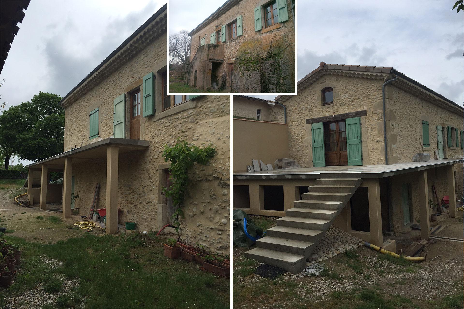 Reprise d'une terrasse sur un chantier à Divajeu.