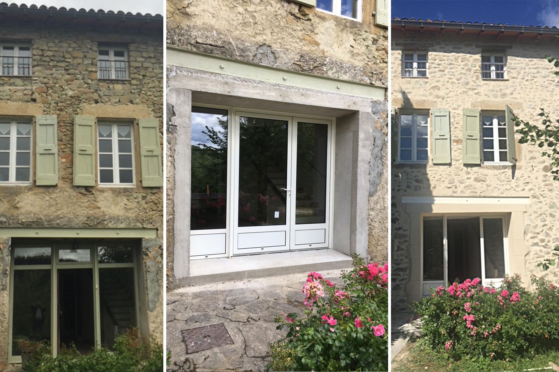 Rénovation : partielle avec renforcement d'ouverture, changement de menuiserie et réfection façade. Chantier à Piégros la Clastre.